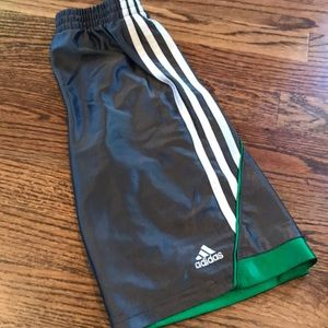 Adidas shorts gray/white/green size 7x